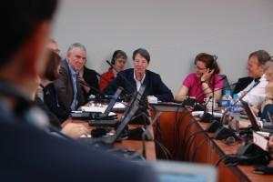 Umweltministerin Hendricks beim morgentlichen Verhandlungs-Briefing. Foto: privat