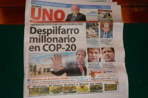 """Perus Bild-Zeitung """"UNO"""" skandalisiert die hohen Kosten für Konferenz in Lima. Foto: privat"""