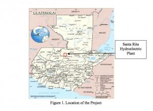 Karte aus CDM-Antrag mit Standort Staudamm Santa Rita Guatemala