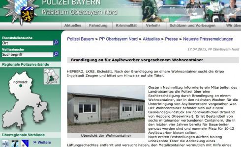 Pressemitteilung Polizei Brandlegung Hepberg Polizeimeldung (Bild: Screenshot)