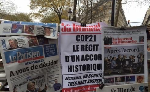 In Paris feierten 2015 auch internationale Medien den historischen Klimadeal (Foto: Privat)