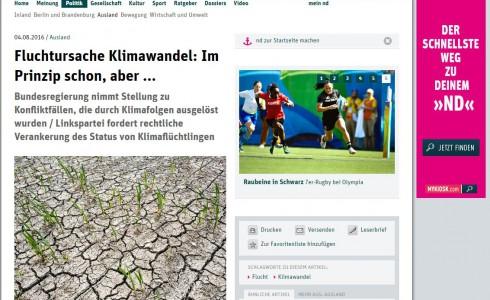 DAs ND berichtet über die Kleine Anfrage Klimawandel und Migration aus der MENA-Region (Foto: www.neues-deutschland.de/Screenshot)