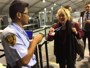 Eva Bulling-Schröter bei ihrer Ankunft bei der UN-Klimakonferenz. Foto: Privat