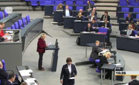 """Eva im Plenum: """"Regierung hat Klimaschutzplan in den Sand gesetzt"""" (Foto: Screenshot BT/privat)"""