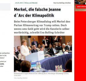 Merkel gibt besonders vor Wahlen die Klimakanzlerin (Foto: Screenshot/ND)