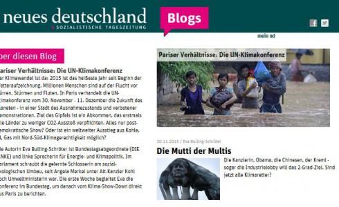 Pariser Verhältnisse: Die UN-Klimakonferenz Blog ND (Foto: Screenshot)