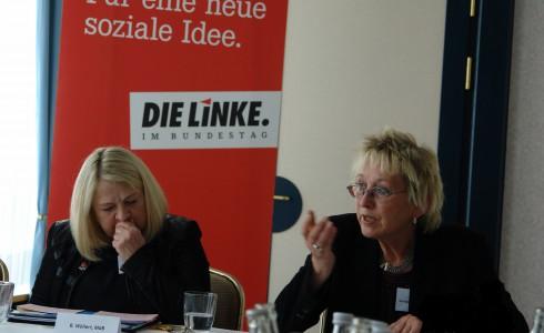 Birgit Wöllert und Eva Bulling-Schröter in Cottbus (Foto: DIE LINKE)