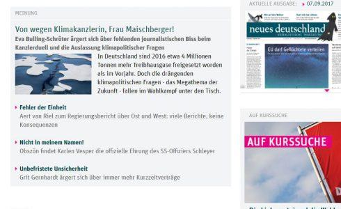 Alle zwei Wochen schreibt Eva im Neuen Deutschland. (Foto: Screenshot/ND)